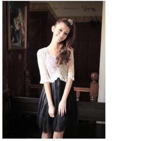 Korean Women Fake 2pcs Lace Cape Dress,9731,WHITE,Sz M, BNWT