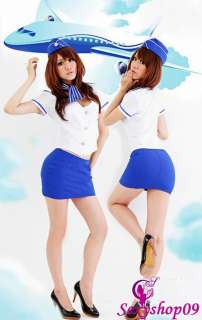 Flight Attendant Stewardess cosplay Halloween Costume Air Hostess