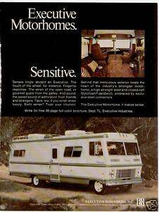 75 EXECUTIVE MOTORHOMES RV MOTOR COACH TRAVEL PRINT AD