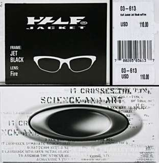 GENUINE Oakley HALF JACKET Jet Black FIRE Iridium Lens 03 613 NEW IB