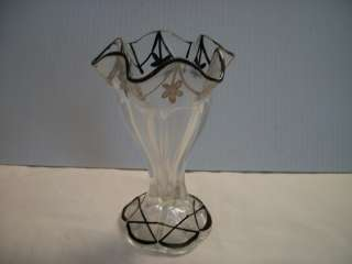 Vintage Clear Glass With Hand Painted Black Floral Garland 6 Vase