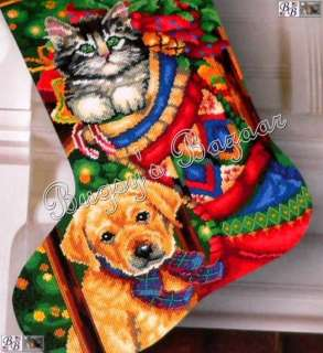 Dimensions HOLIDAY PETS Stocking Cat Dog Needlepoint Christmas Kit