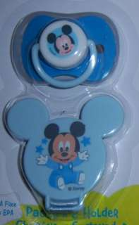 Disney Mickey Mouse or Minnie Mouse Pacifier & Holder, Baby Shower
