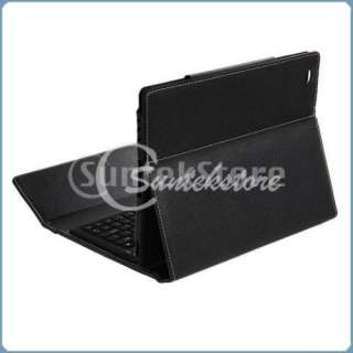 Wireless Bluetooth Keyboard Leather Case Folio Cover Stand Black for