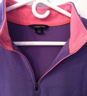Lands End 1/4 zip Purple with Pink trim fleece womens XL (18 20