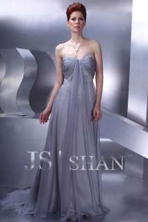 JSSHAN Gray Runway Chiffon Formal Prom Evening Dress