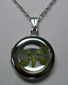 Brand New Sterling Silver Four Leaf Clover 16mm Locket with 18 Chain