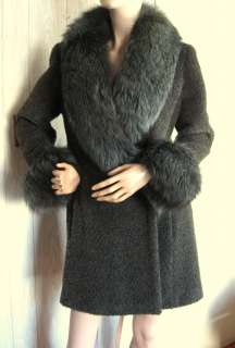 Dark Olive Green Nubby Wool Coat Dyed Green Fox Fur Collar & Sleeves M