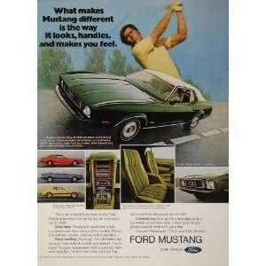1973 Ad Green Ford Mustang Muscle Car Grande Golfer   Original Print