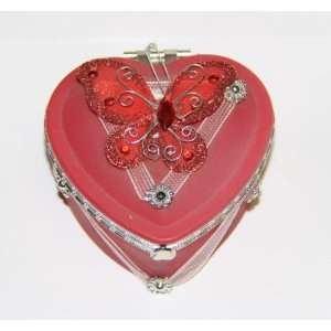 Heart Shaped Glass Jewelry Trinket Box wi Butterly   Red