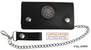 harley davidson skull medallion single fold wallet