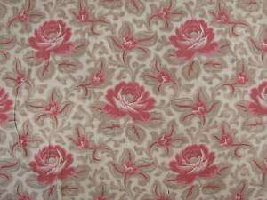 Antique French madder QUILT c1860 block print roses
