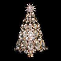 Christmas Tree Brooch Pin Clear Swarovski Crystal Chic Snowflake