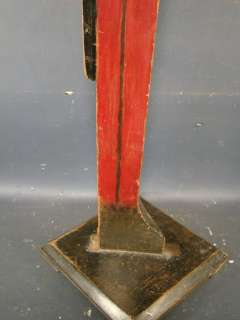 Antique FOLK ART Black Americana OLD BUTLER Tip STAND Wood Ashtray