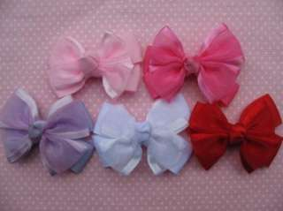 20 Grosgrain Organza Ribbon Bow Hair 5 Colors R073