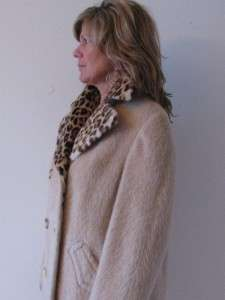 VTG EASTEX ENGLAND FUZZY FURRY MOHAIR WOOL LEOPARD FAUX FUR LADIES