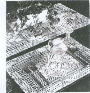 Vintage Crochet Pattern Table Runner & Place Mat Set