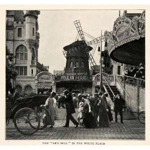1910 Print Street Scene Moulin Rouge Fashion Pougaud