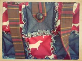 Burgundy Hounds Rag Quilt Diaper Bag Tote Purse   Red, Denim, Dogs