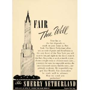 1939 Ad Sherby Netherland Tower Hotel Suite Residence   Original Print