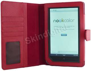 For Nook Tablet / Nook Color Green Leather Case Cover Jacket