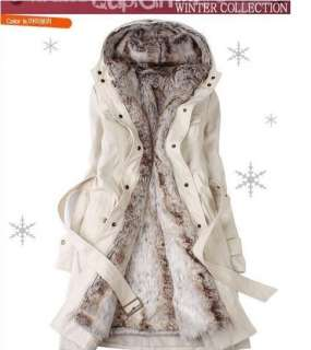 NEW Women 2 in 1 Hooded Fur Winter Long Coat with Faux Fur Ling