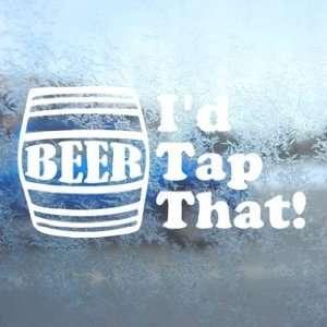 Id Tap That White Decal Beer Keg Car Window Laptop White