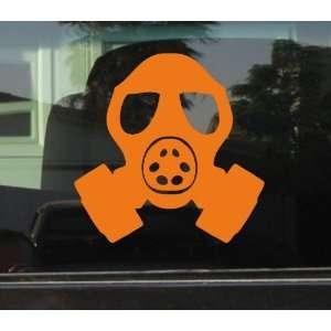 GAS MASK HEAD STYLE #2   5 ORANGE   Vinyl Decal WINDOW Sticker