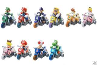 Nintendo Mario Kart Wii Pull back Bike figure set of 10 official