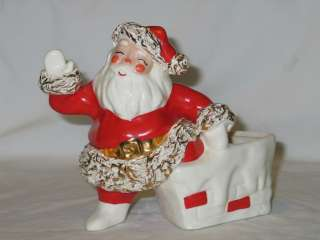 Vintage Christmas Betty Lou Nichols Ceramic Santa In Chimney Planter