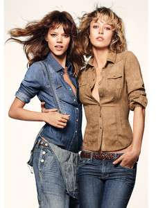 2011 New Women Slim Denim Long Sleeve Shirt Blue/Brown 36 42