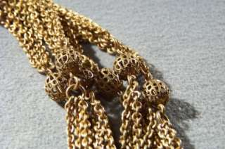 ANTIQUE GOLD TONE 3 STRAND FILIGREE BEAD NECKLACE *