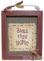 Primitive Bless This Home Framed Sampler Wall Decor
