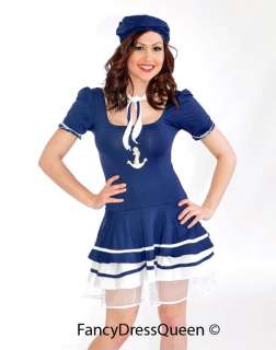 Womens Navy/Royal Blue/Black Sailor Fancy Dress Costume Girl Outfit