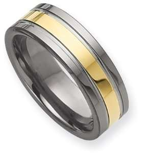 8mm Tungsten Ring with Gold Plating and Grooves/Tungsten