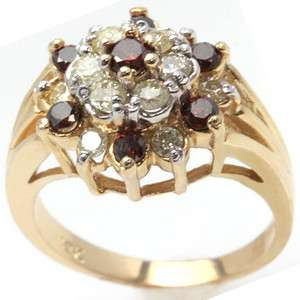32ctw 10k YELLOW GOLD NATURAL RED DIAMOND RING with WHITE DIAMONDS