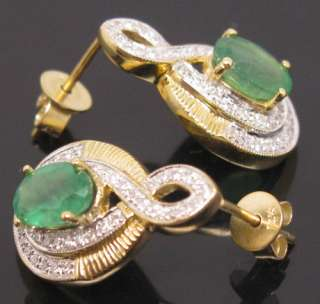 YELLOW GOLD NATURAL DIAMOND COLOMBIA GORGEOUS EMERALD EARRINGS