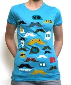 Loungefly Kawaii Blue Mustache T Shirt Tee Top Moustache Print Punk