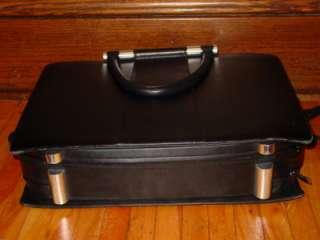 ZERO HALLIBURTON BLACK Leather Steel Laptop Computer Briefcase Case