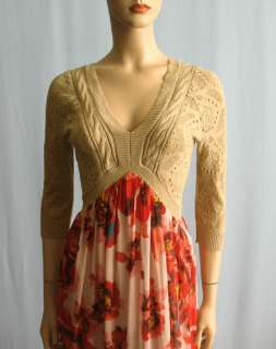 Free People Pointelle Knit & Red Floral Chiffon Maxi Dress XS X S