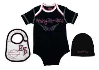 Harley Davidson Motorcycles Glitter Angel Three Piece Girls Baby