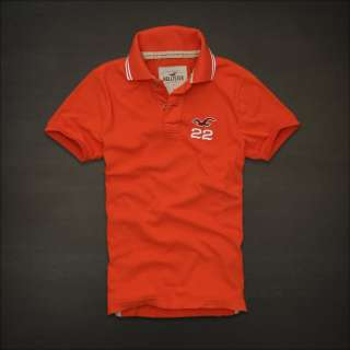 NWT Hollister HCO Mens Muscle Polo Tee XL Shirt Top Orange Logo NEW