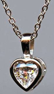 CARAT HEART CUT BEZEL SET SIGNITY CZ NECKLACE