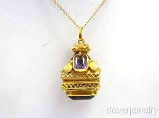 Victorian 18K Gold Amethyst Temple Charm Heavy Locket Pendant NR