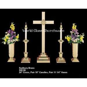 SB150 24 Sudbury Brass 24 Altar Cross Set w/ 10 Candlesticks and