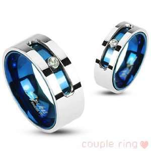 316L Stainless Steel Blue IP Double Layered Ring with a Rotating Gem