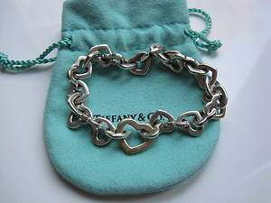 Auth Tiffany & Co Heart Link Bracelet in Silver and 18K Gold