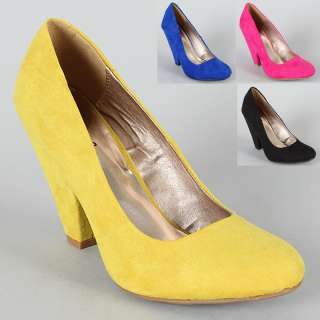 Womens Shoes High Chunky Heels Suede Pumps Black Yellow Fuchsia Blue