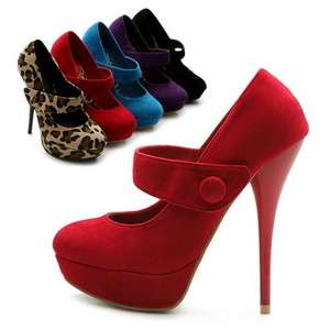 Mary Jane Faux Suede Platforms Classic High Heels Multi Colored
