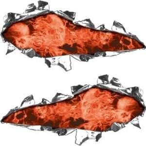 Ripped / Torn Metal Look Decals Inferno Skull Orange   3